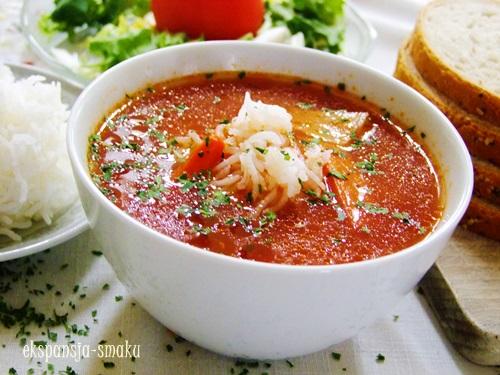 zupa pomidorowa z ryżem na rosole